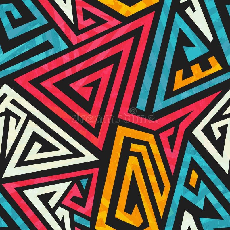 Teste padrão sem emenda geométrico dos grafittis ilustração royalty free