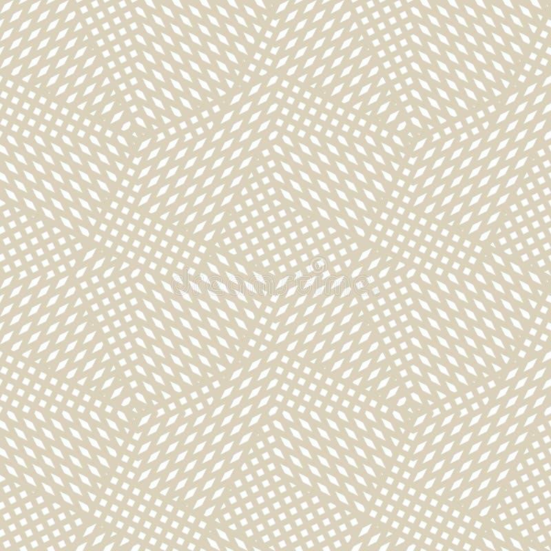 Teste padrão sem emenda geométrico dourado do vetor com linhas diagonais do cruzamento, listras ilustração stock
