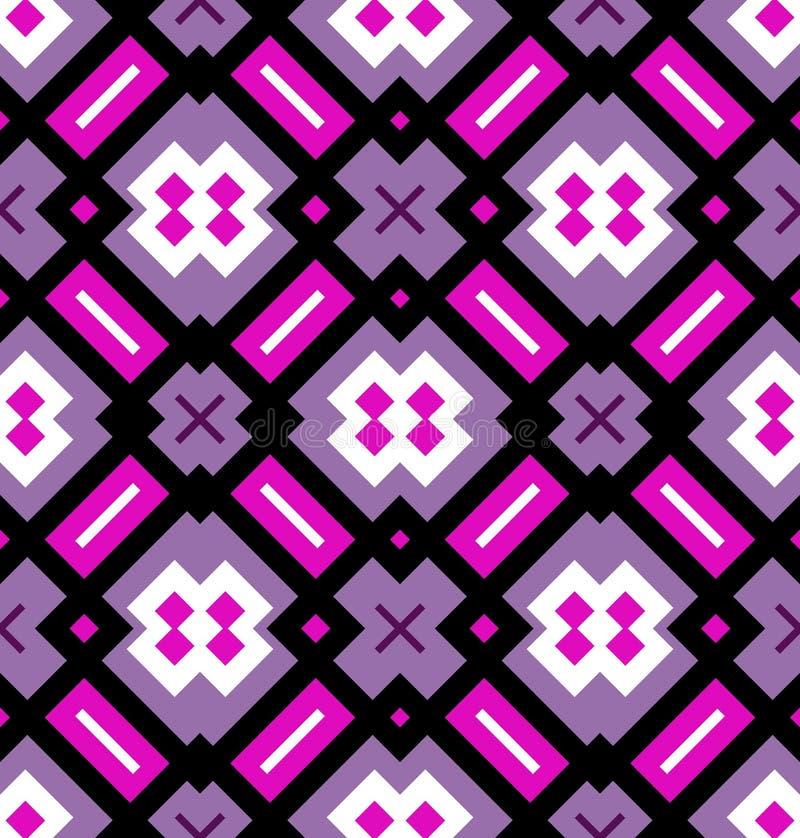 Teste padrão sem emenda geométrico em cor-de-rosa, violeta, preto e branco ilustração do vetor