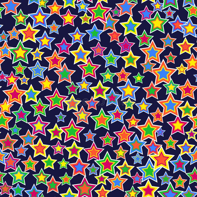 teste padrão sem emenda geométrico Estrelas brilhantes de tamanhos e de cores diferentes, arranjadas em um fundo escuro ilustração stock