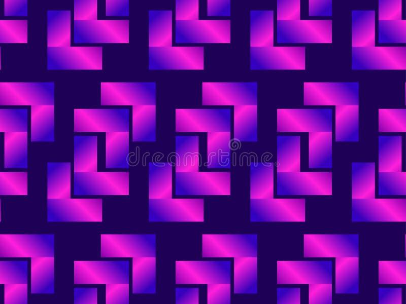 Teste padrão sem emenda geométrico, inclinação roxo Cor de néon holográfica Vetor ilustração stock