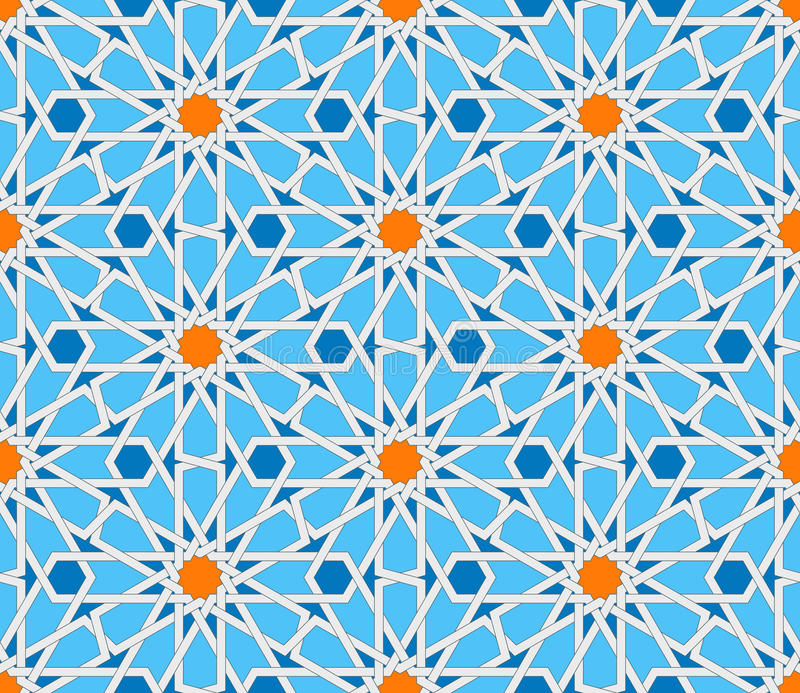 Teste padrão sem emenda geométrico islâmico Ornamento turco, arte árabe oriental tradicional Mosaico muçulmano Vetor colorido ilustração stock