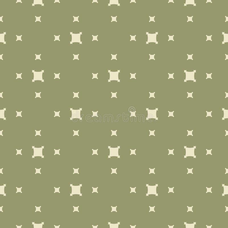 Teste padrão sem emenda geométrico minimalista do vetor verde com formas quadradas pequenas, cruzes, figuras simples, telhas da r ilustração do vetor