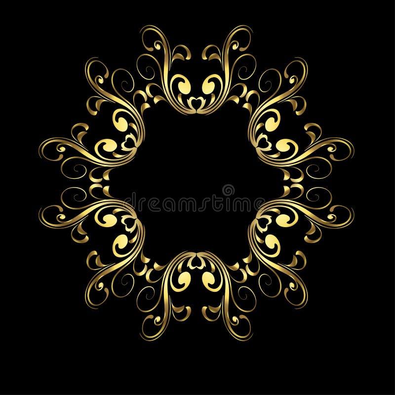 Teste padrão sem emenda geométrico moderno Vector o fundo com formas e redemoinhos radiais do fractal do ouro no preto Ornamento  ilustração royalty free