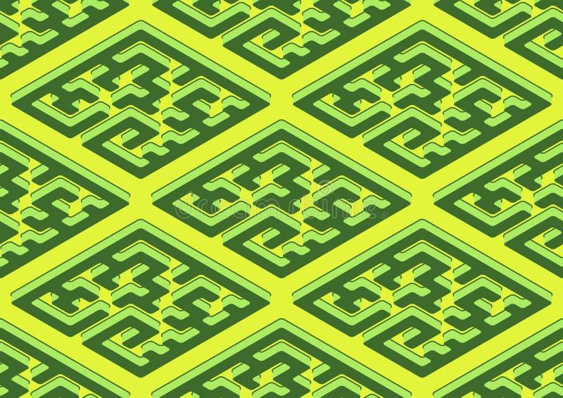 Teste padrão sem emenda geométrico na cor verde e amarela ilustração royalty free