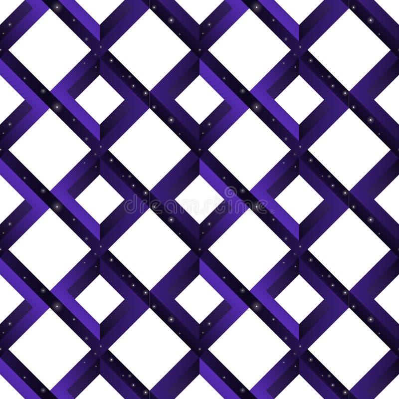 Teste padrão sem emenda geométrico na moda da ilusão do escher de formas impossíveis - quadrados, rombos com estrelas em um fundo ilustração royalty free