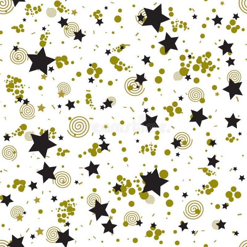 Teste padrão sem emenda geométrico no estilo abstrato de memphis, círculos do ouro, estrelas, espirais ilustração do vetor