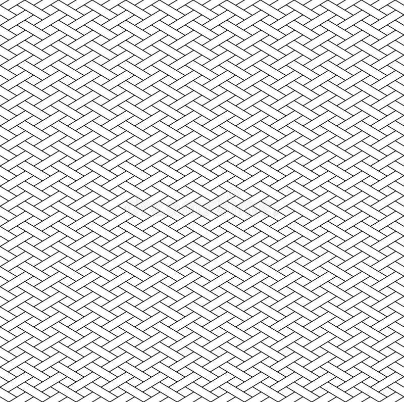 Teste padrão sem emenda geométrico preto e branco com estilo do weave ilustração royalty free