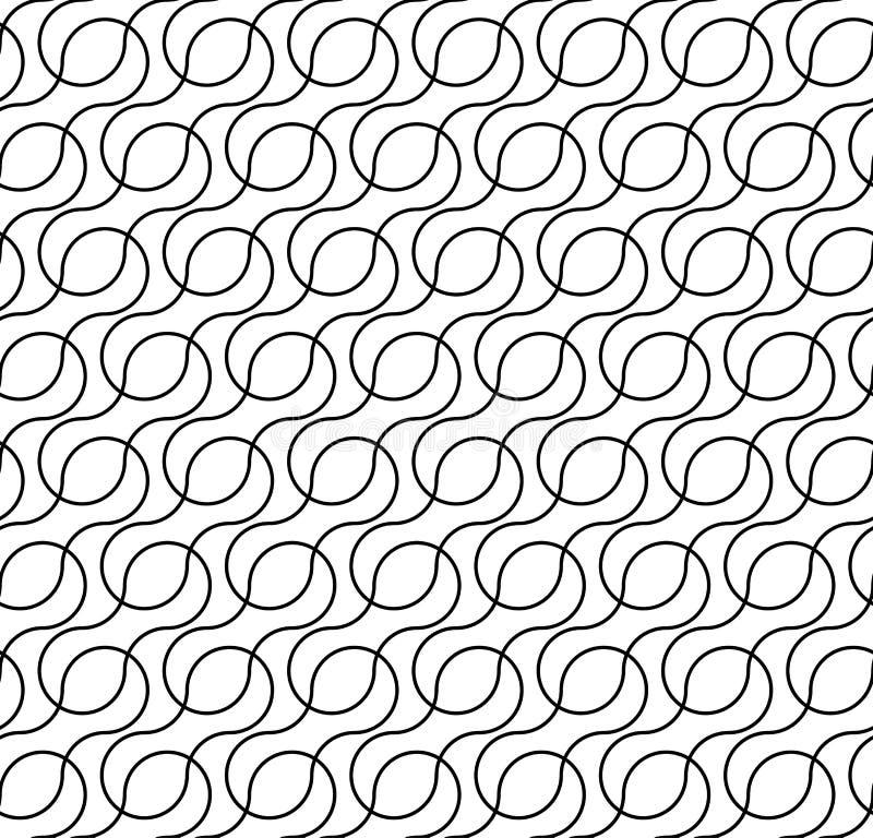 Teste padrão sem emenda geométrico preto e branco com linha da onda, resumo ilustração stock