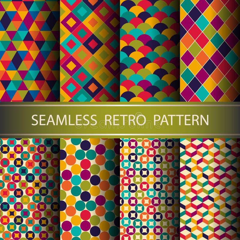 Teste padrão sem emenda geométrico retro abstrato. ilustração stock