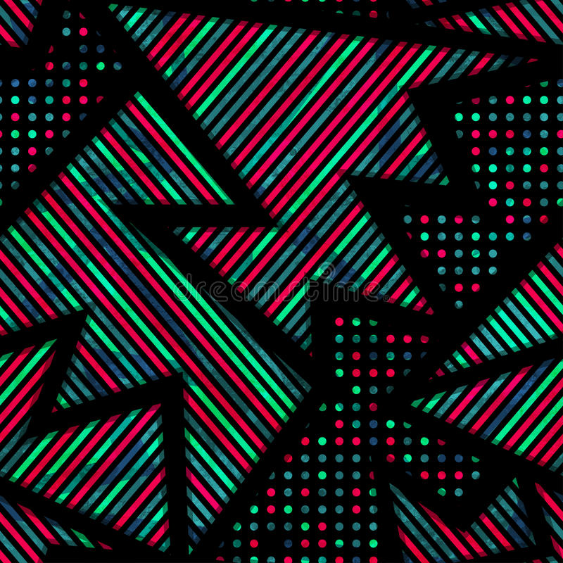 Teste padrão sem emenda geométrico urbano com efeito do grunge ilustração stock