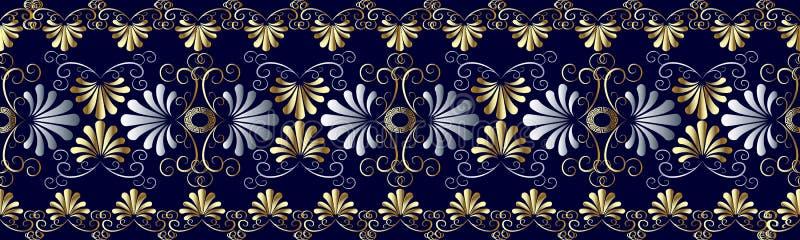 Teste padrão sem emenda grecian floral da beira Vagabundos geométricos do vetor azul ilustração stock