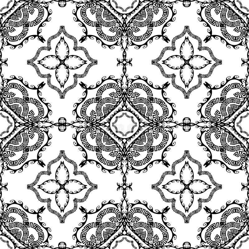 Teste padrão sem emenda grego decorativo do vetor preto e branco Abstra ilustração do vetor
