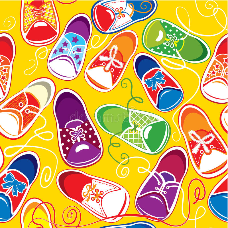 Teste padrão sem emenda - gumshoes coloridos das crianças ilustração do vetor
