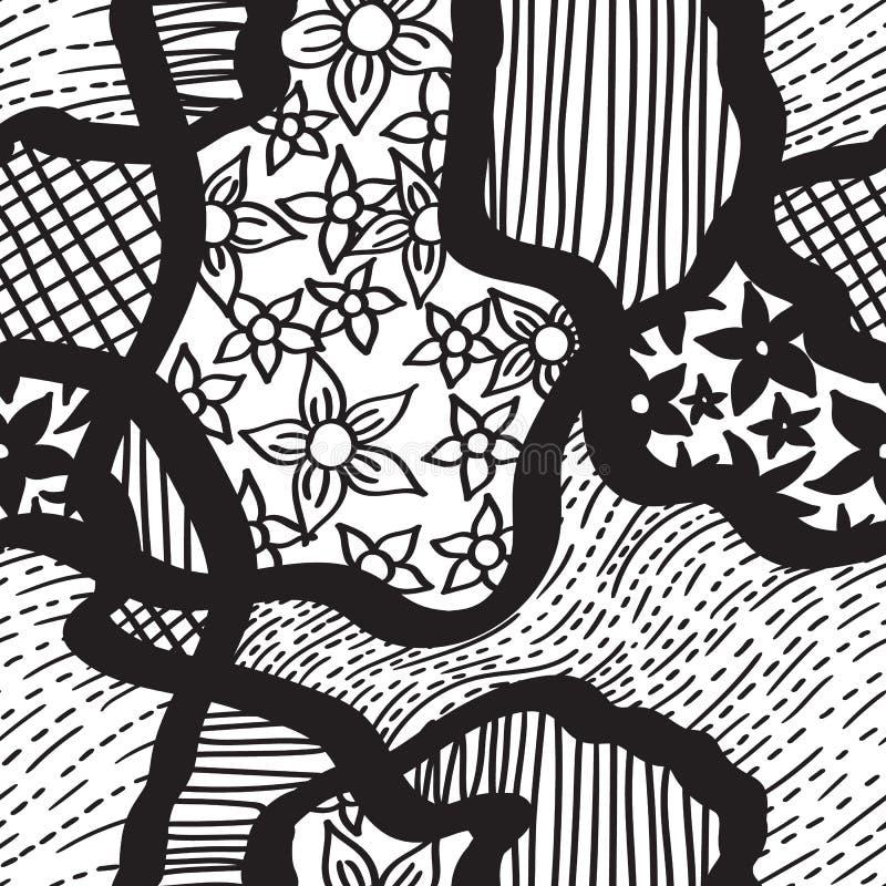 Teste padrão sem emenda handdrawn da tinta linhas e flores pretas no branco ilustração do vetor
