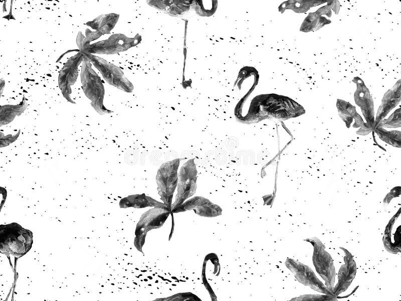 Teste padrão sem emenda havaiano do grande preto do flamingo ilustração do vetor