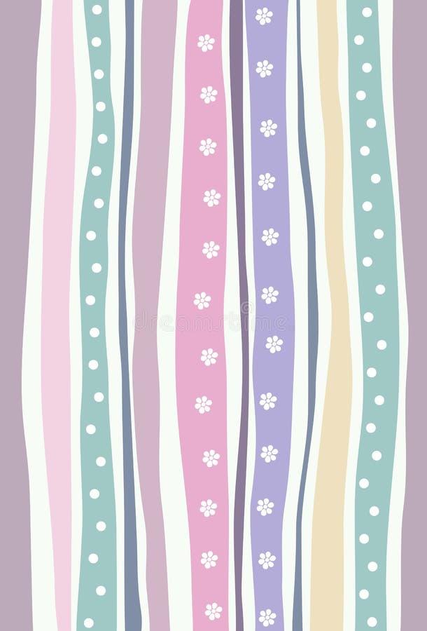 Teste padrão sem emenda horizontal com listras coloridas Fundo colorido pastel com flores e pontos ilustração royalty free
