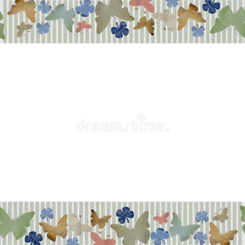Teste padrão sem emenda horizontal da aquarela com as borboletas no fundo branco ilustração stock