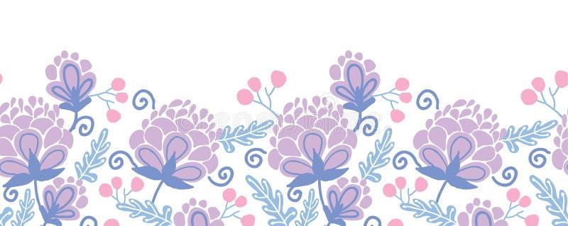Teste padrão sem emenda horizontal das flores roxas macias ilustração royalty free