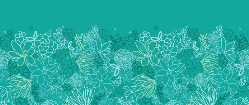 Teste padrão sem emenda horizontal das plantas carnudas verdes ilustração do vetor