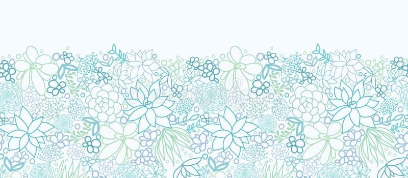 Teste padrão sem emenda horizontal das plantas suculentos ilustração royalty free