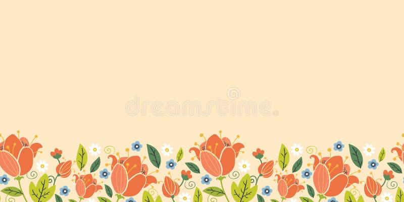 Teste padrão sem emenda horizontal das tulipas coloridas da mola ilustração royalty free