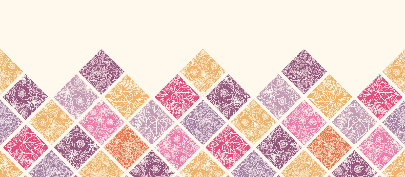 Teste padrão sem emenda horizontal floral das telhas de mosaico ilustração stock