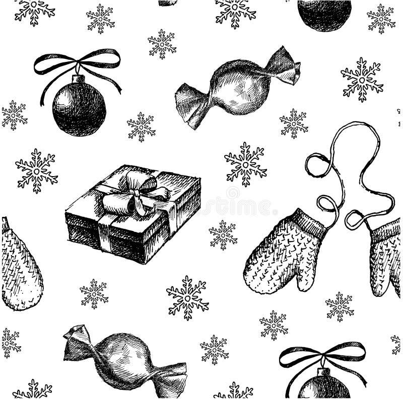 Teste padrão sem emenda, ilustração do Natal do ano novo do esboço do desenho da mão Brinquedo e doces do Natal do vetor ilustração royalty free
