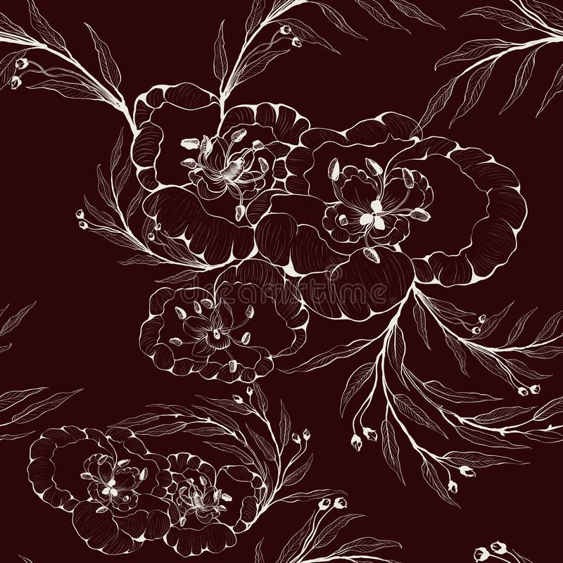 Teste padrão sem emenda Imagem do vetor Flores e ramos das plantas - uma composição decorativa Use materiais impressos, sinais, a ilustração do vetor