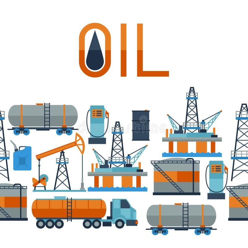 Teste padrão sem emenda industrial com óleo e gasolina ilustração do vetor