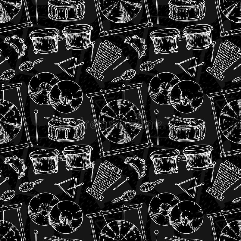 Teste padrão sem emenda Instrumentos musicais da percussão ilustração stock