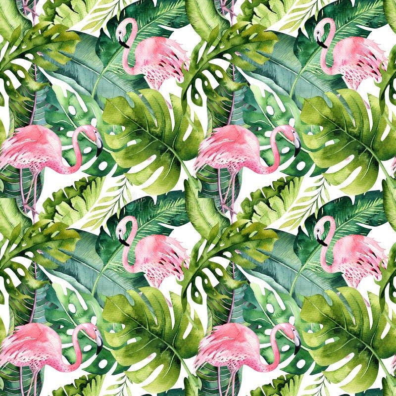 Teste padrão sem emenda isolado tropical com flamingo Desenho tropico da aquarela, pássaro cor-de-rosa e palmeira das hortaliças, ilustração stock