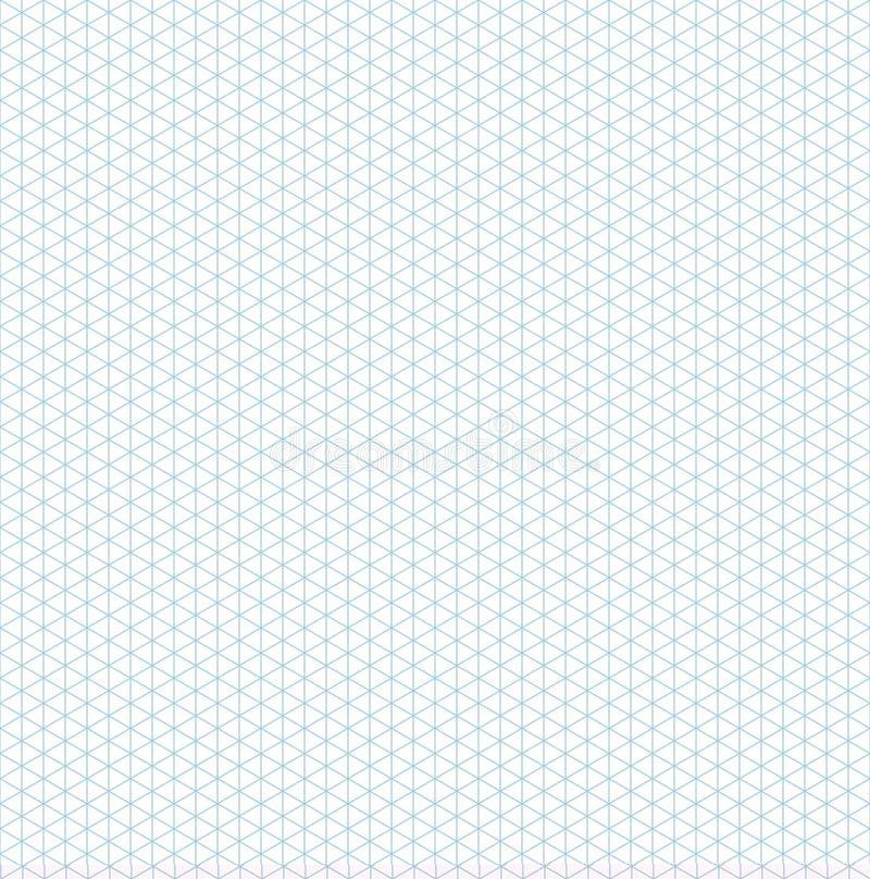 Teste padrão sem emenda isométrico do papel de gráfico da grade ilustração do vetor