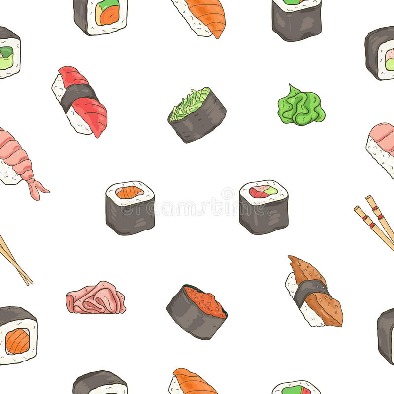 Teste padrão sem emenda japonês dos rolos de sushi do marisco Alimento tradicional ilustração royalty free