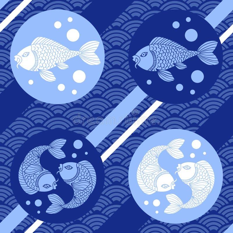 Teste padrão sem emenda japonês moderno com ondas, peixe-gato e linhas Estilo asiático Luz do vetor art ilustração do vetor