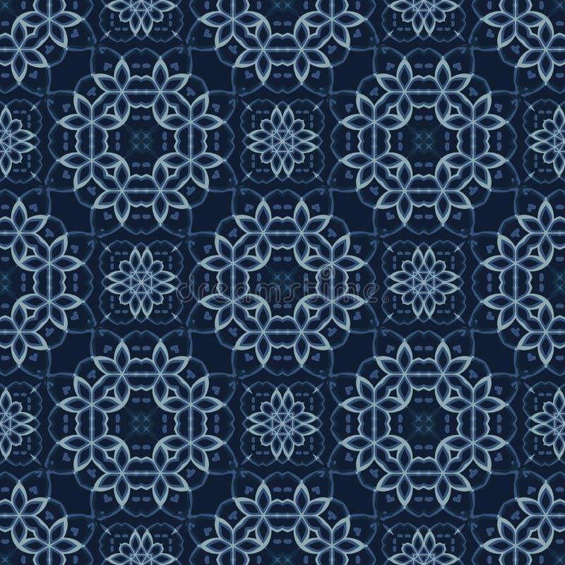 Teste padrão sem emenda japonês tradicional do vetor do azul de índigo Edredão do laço ilustração royalty free