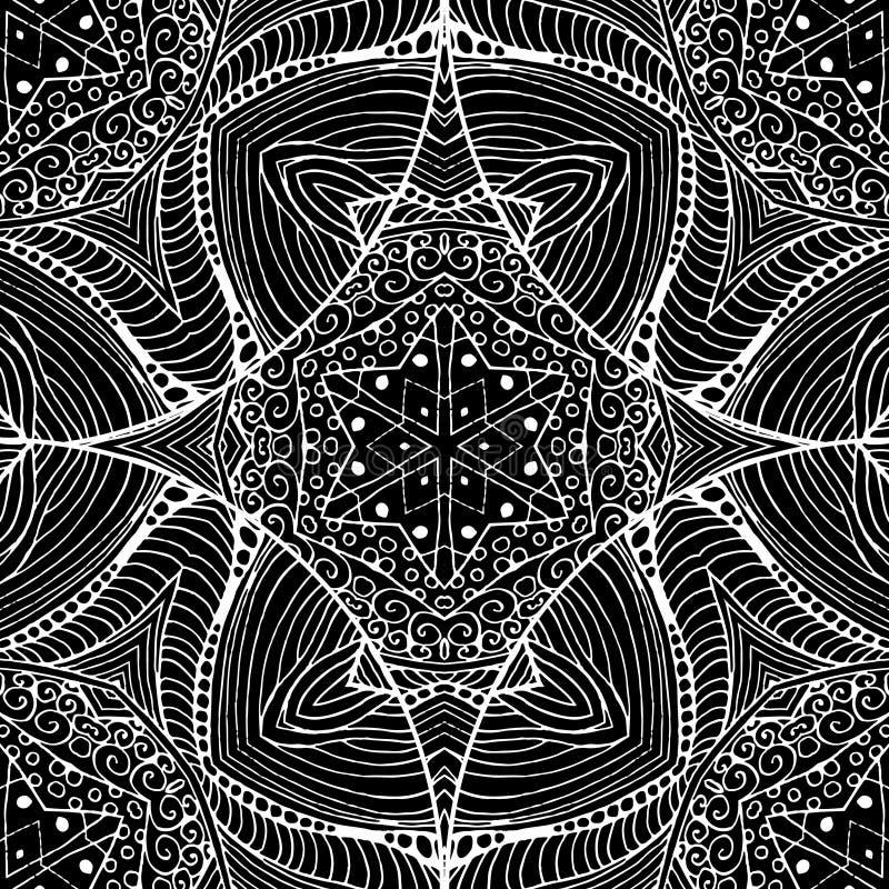 Teste padrão sem emenda laçado preto gótico abstrato Projeto do preto da cor do vintage mono ilustração stock