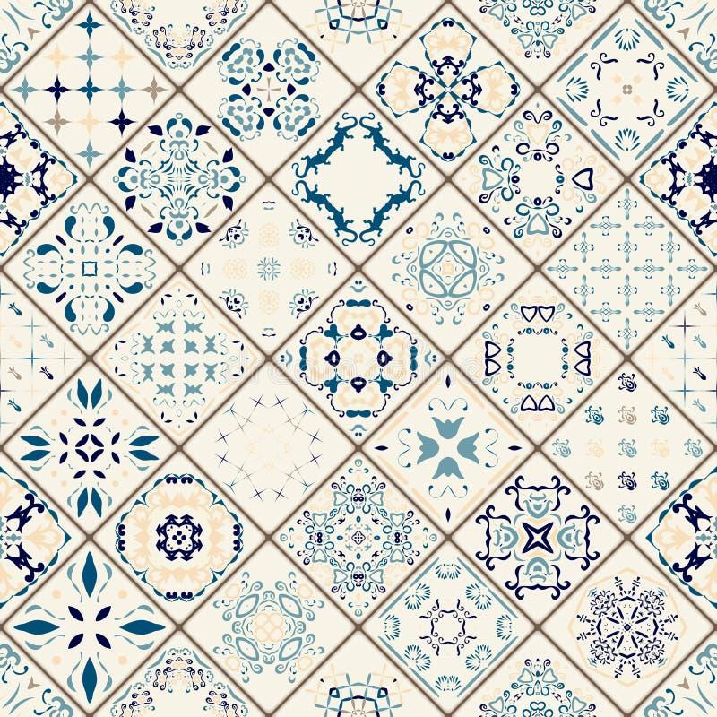 Teste padrão sem emenda lindo mega dos retalhos das telhas marroquinas coloridas, ornamento ilustração stock