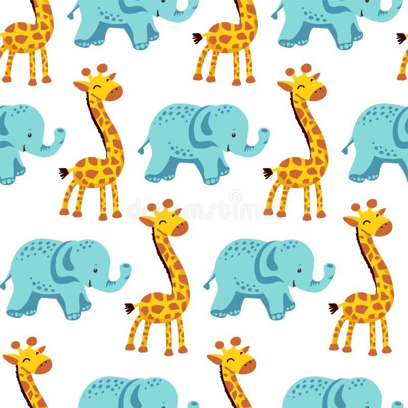 Teste padrão sem emenda liso com girafa e elefante ilustração stock