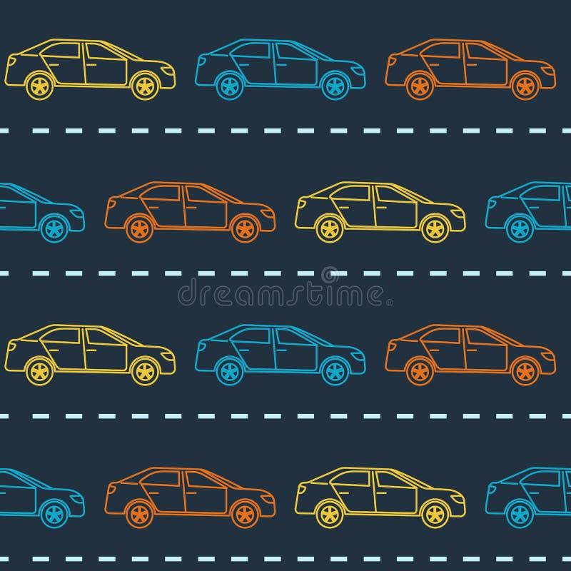 Teste padrão sem emenda listrado com carros ilustração royalty free
