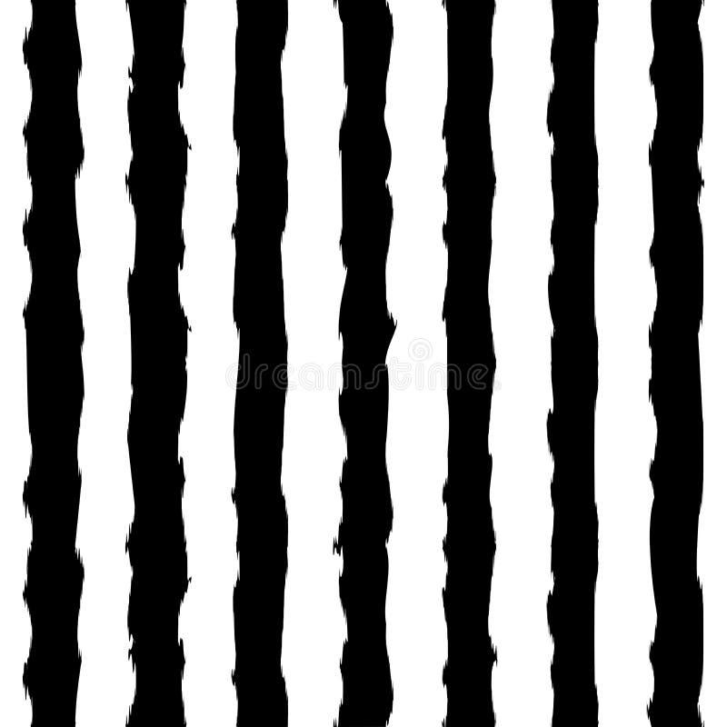 Teste padrão sem emenda listrado dos cursos verticais monocromáticos preto e branco da escova Teste padrão elegante para o fundo, ilustração royalty free