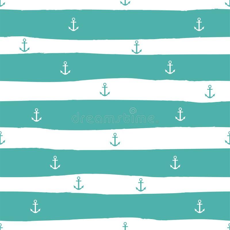Teste padrão sem emenda listrado marinho com âncoras e listras de turquesa Vetor foto de stock royalty free