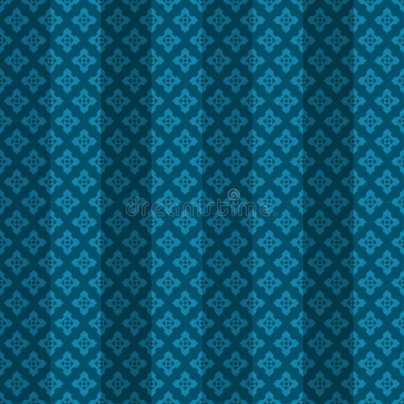 Teste padrão sem emenda listrado oriental azul ilustração do vetor