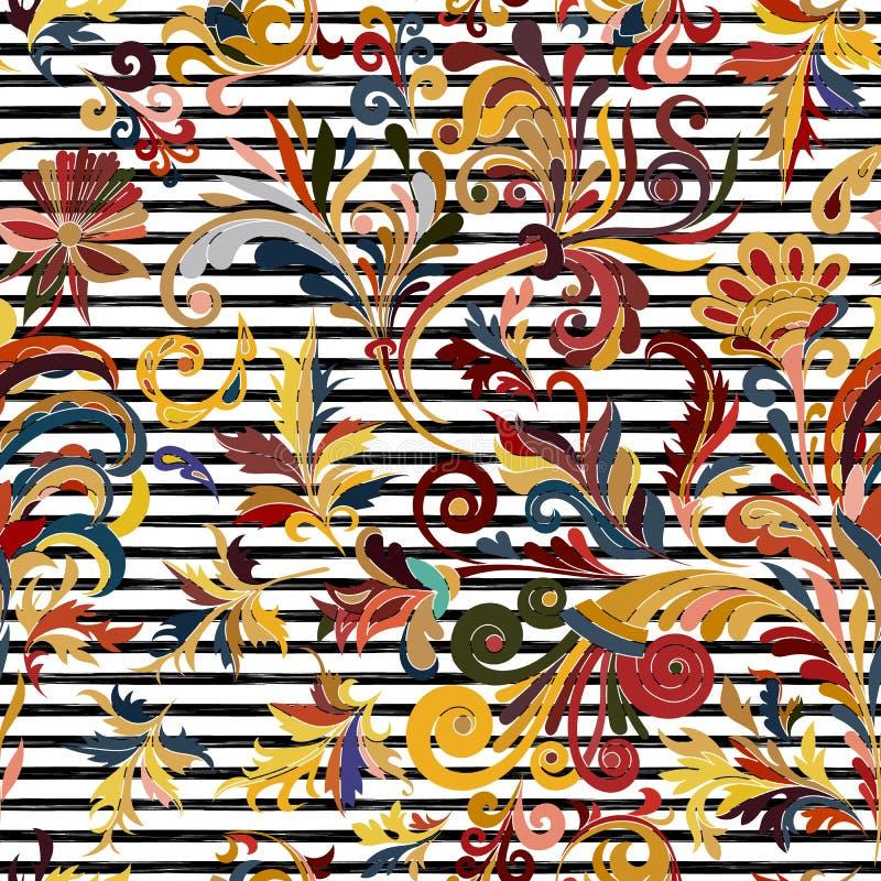 Teste padrão sem emenda listrado Papel de parede floral da tração da mão Beira decorativa colorida ilustração do vetor