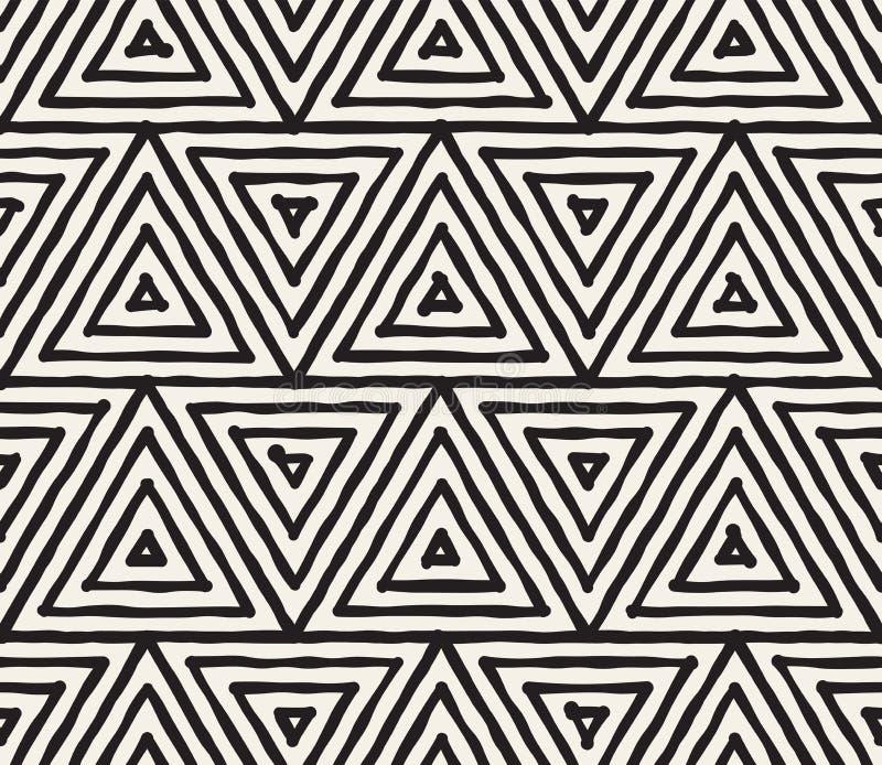 Teste padrão sem emenda listrado tirado mão da tinta preto e branco Textura da estrutura do grunge do vetor A escova monocromátic ilustração do vetor