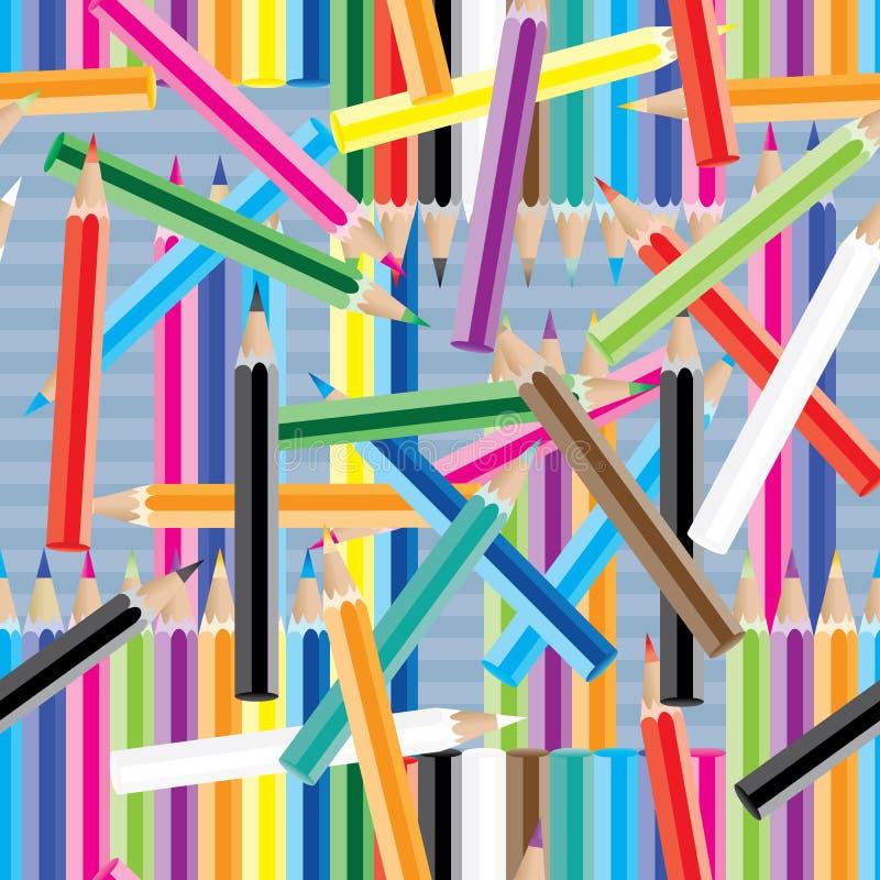 Teste padrão sem emenda louco do lápis colorido ilustração royalty free