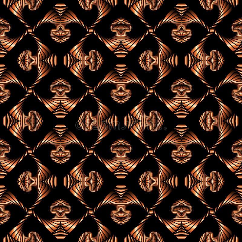 Teste padrão sem emenda luxuoso com o ornamento decorativo do inclinação de bronze no fundo preto ilustração do vetor