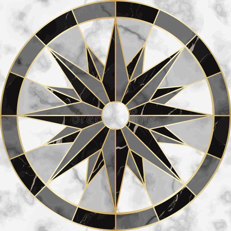 Teste padrão sem emenda luxuoso do sinal do compasso do mármore e do ouro ilustração stock