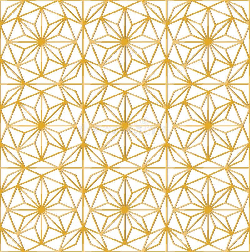 Teste padrão sem emenda luxuoso do vetor com as estrelas douradas geométricas ilustração stock