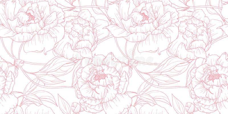 Teste padrão sem emenda, mão tirada para esboçar flores cor-de-rosa da peônia ilustração royalty free